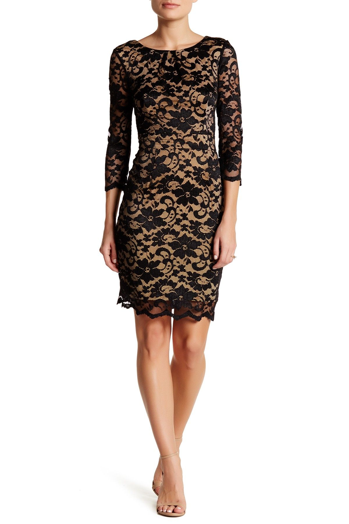 Long Sleeve Lace Sheath Dress by ABS Collection on @nordstrom_rack