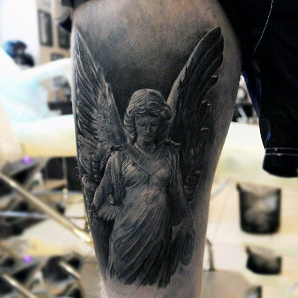 Beautiful guardian angel tattoo males upperarms full and for Guardian angel half sleeve tattoos