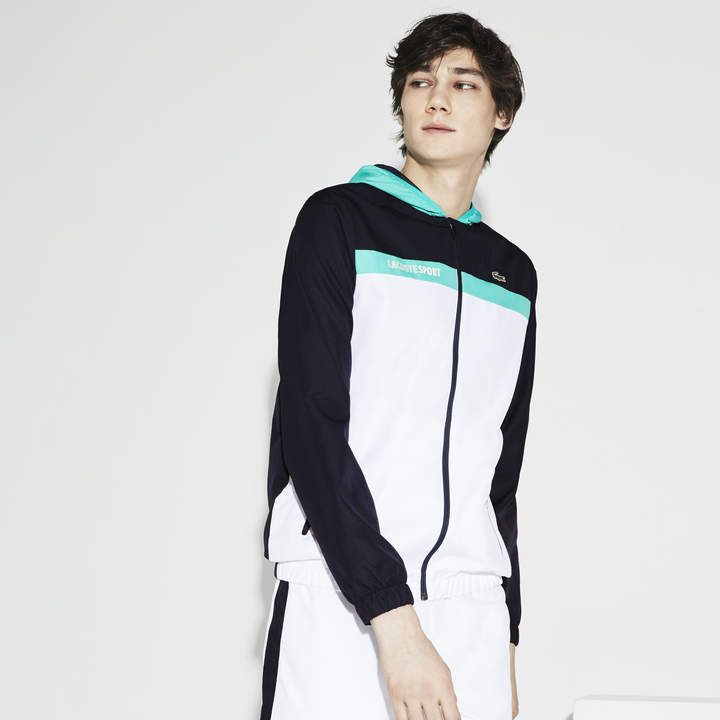 ac2280bea9df Lacoste Men s SPORT Hooded Colorblock Taffeta Tennis Jacket ...