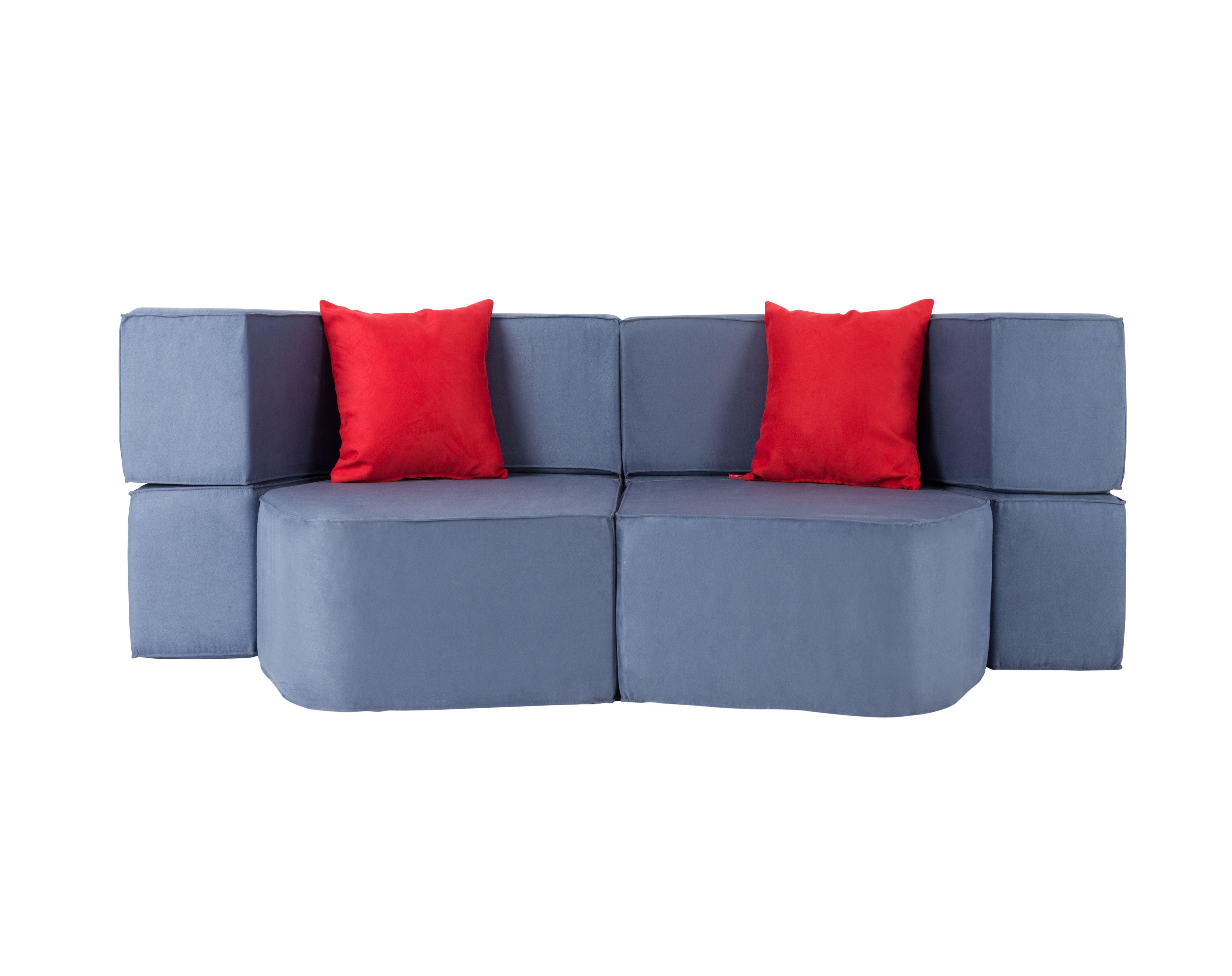Muffin Modular Sofa / Colour: Blackcurrant. Pillows / Colour: Strawberry  #modular #