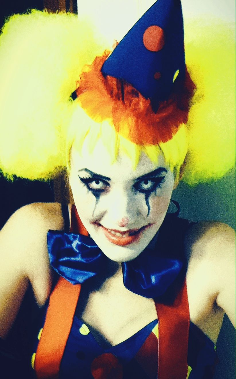 My scary clown costume for Halloween :} w/ white eye contacts  #PartyCity