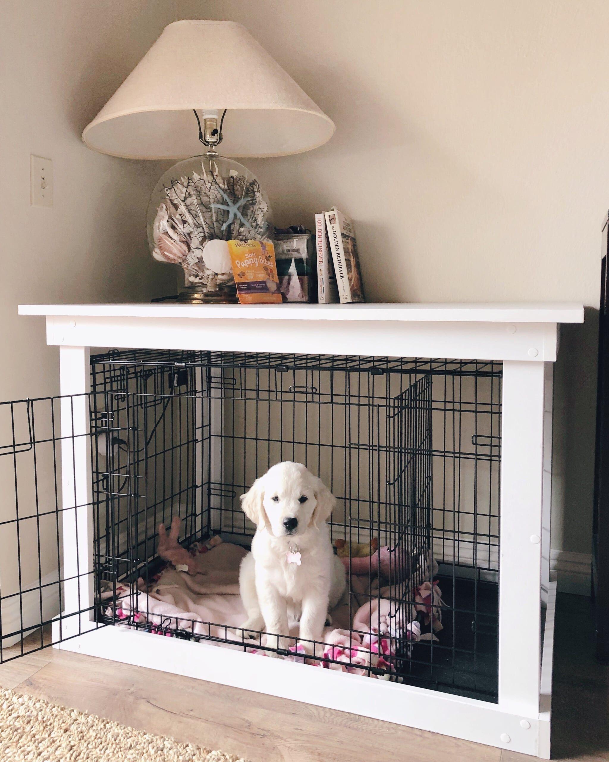 The Final Product Diy Dog Kennel Dog Crate Furniture Diy Dog Crate