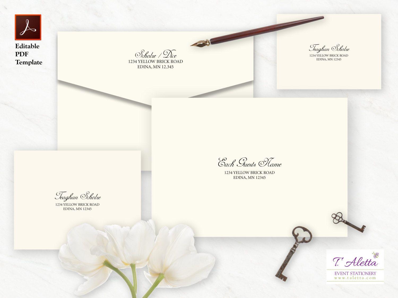 Envelope Template Set Envelope Template Download Classic Etsy Wedding Invitation Envelopes Modern Wedding Invitation Wording Wedding Reply Cards