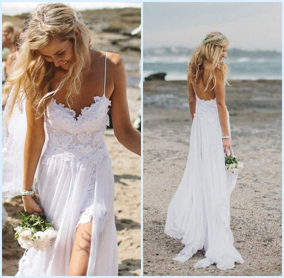 Lace beach wedding dresses gowns