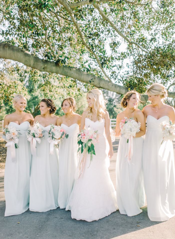 Rustic Glamour Ranch Wedding in shades of white, soft pink, and peach
