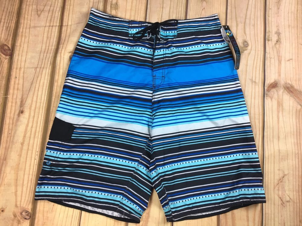 aeefea5d6c8f3 Burnside Men's Board Swim Shorts Blue Multi-Color Striped 30 32 #Burnside # BoardShorts