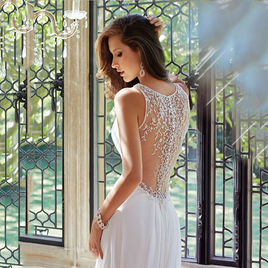 sexy deep v neck sheer back with luxury crystals see through