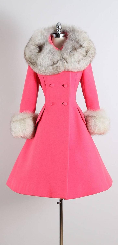 Vintage 1960s Pink Fox Lilli Ann Princess Coat Vintage Fashion Vintage Outfits Vintage Dresses [ 1500 x 727 Pixel ]