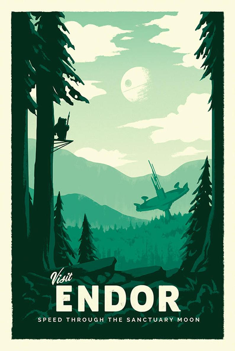 Endor – Star Wars Retro Travel Poster Print