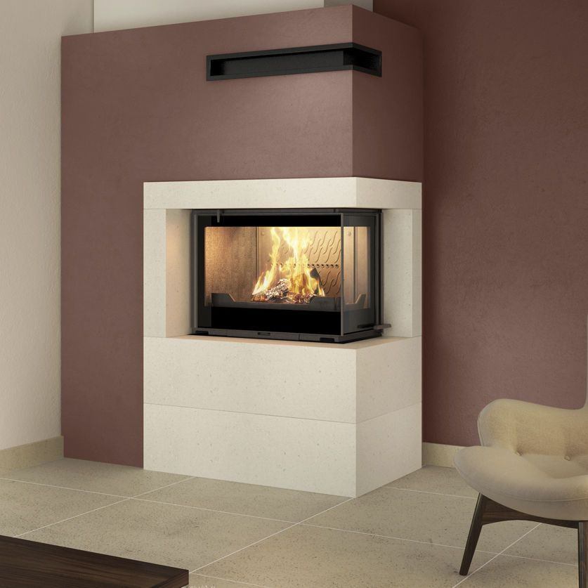 Chimeneas De Lea Modernas Simple Frente Liso Piedra Moka With