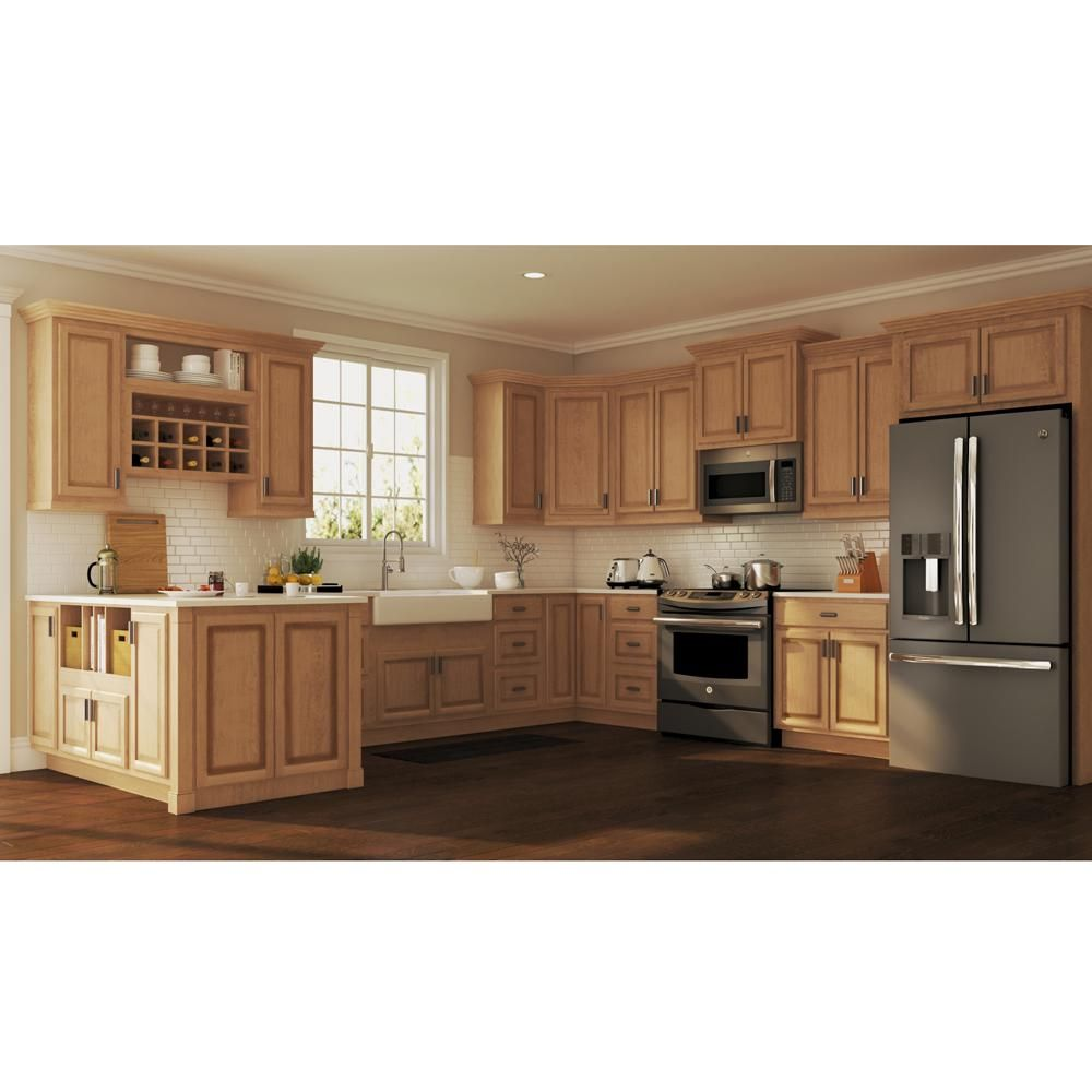 Hampton Bay Hampton Assembled 12x42x12 In Wall Kitchen Cabinet In Medium Oak Kw1242 Mo The Home Depot New Kitchen Cabinets Rustic Kitchen Cabinets Rustic Kitchen