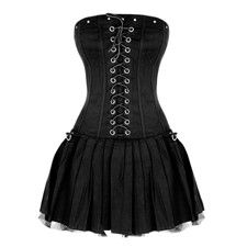 steampunk clothing  black pleated dress black strapless