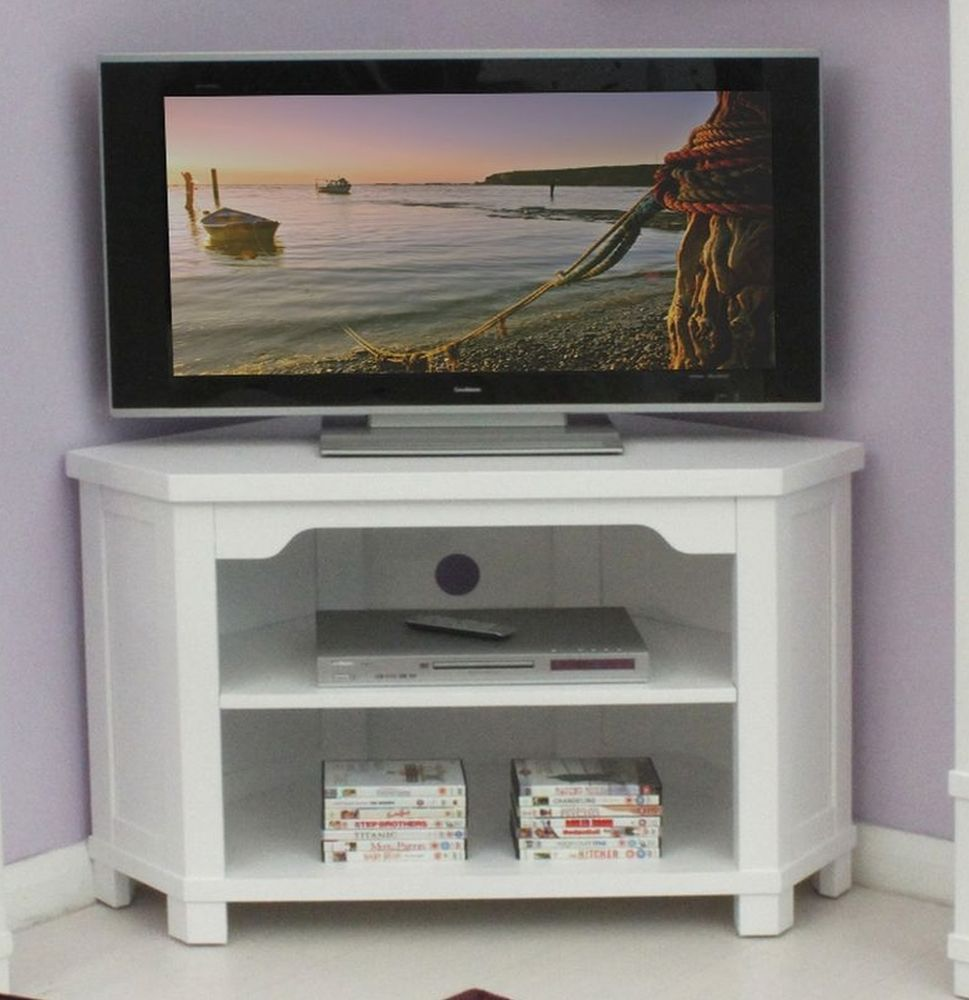 Hampton White Painted Solid Ash Furniture Corner Television  # Placo Table Tv