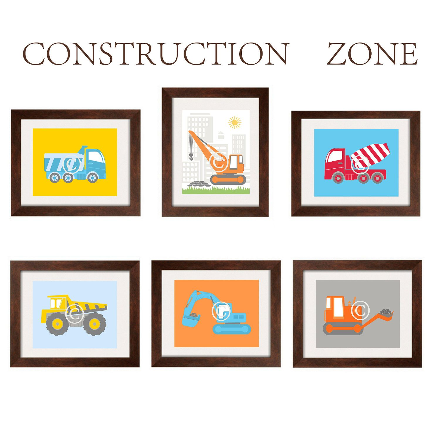 Construction Vehicles Nursery and Toddler Boy Art 6 prints for Construction Zone bedding from Land of Nod 8X10 by YassisPlace. $85.00, via Etsy.