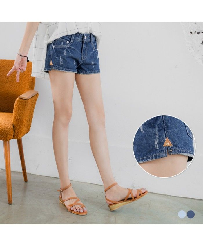 Triangle Leather Short Ripped Jeans - 2 Colors