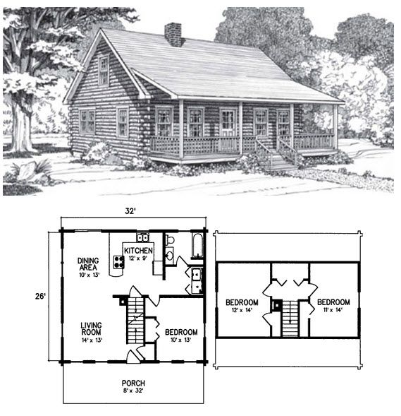 3 Bed 1 Bath 2 Levels 1280 Sq Ft The Katahdin Is Truly A Classic Log Home With Its Full Length Farmer Log Cabin Floor Plans Log Cabin Plans Cabin House Plans