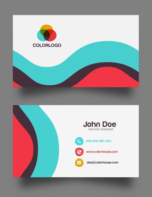 Flat Business Card Template Free Download Templates Pinterest