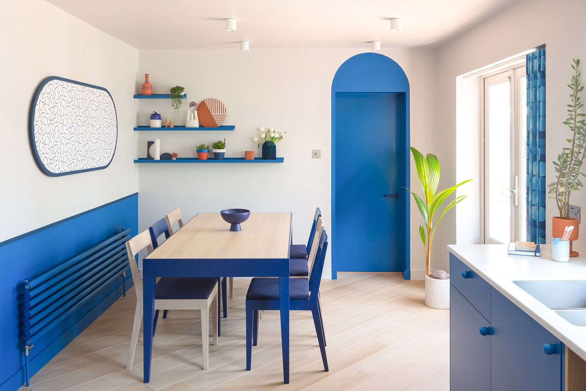 Photo of This Bold Blue Kitchen Renovation Taught us a Shortcut: Invert the Color Palette