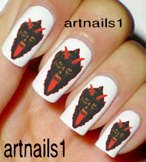 Details about Krampus Christmas Devil Nail Xmas Art Water Decal