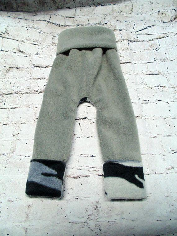 Grey Camo Fleece Longies Maxaloones Size 1 ~ Ready to Ship