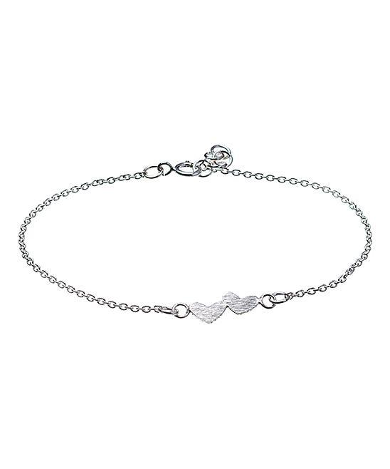 Sterling Silver Side-By-Side Heart Bracelet
