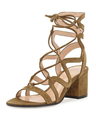 7fad8e5c9ceb31 S0EJ4 Gianvito Rossi Lace-Up Block-Heel 60mm Suede Gladiator Sandal ...