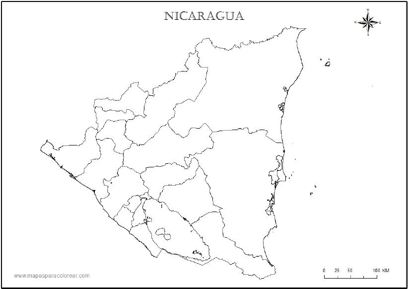 Mapa De Nicaragua Para Colorear Mapas Ensenanza De La Geografia Dibujos Para Imprimir