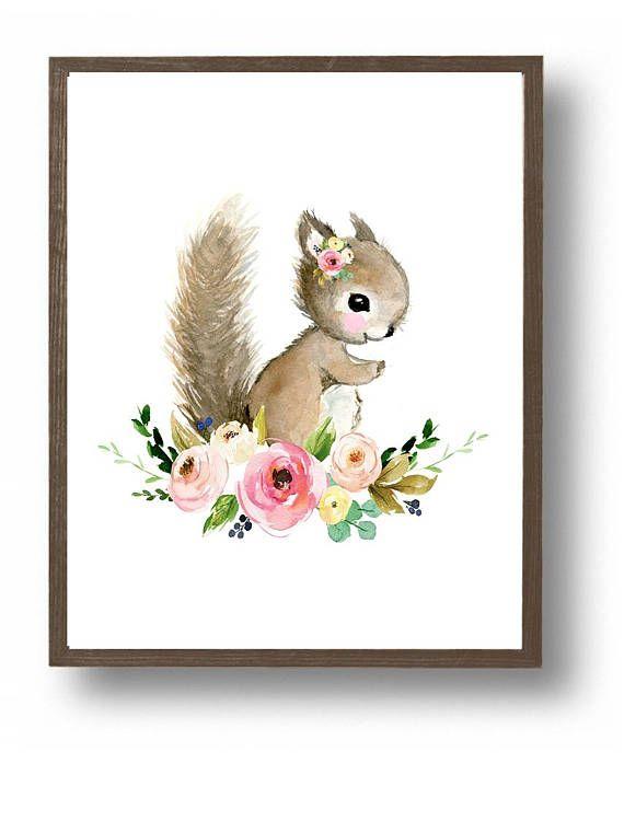 Baby squirrel painting, baby girl nursery, flower nursery, cute