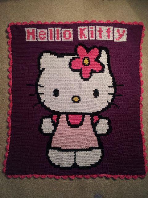 Crochet Hello Kitty Blanket | hobbies | Pinterest | Häkeldecke ...