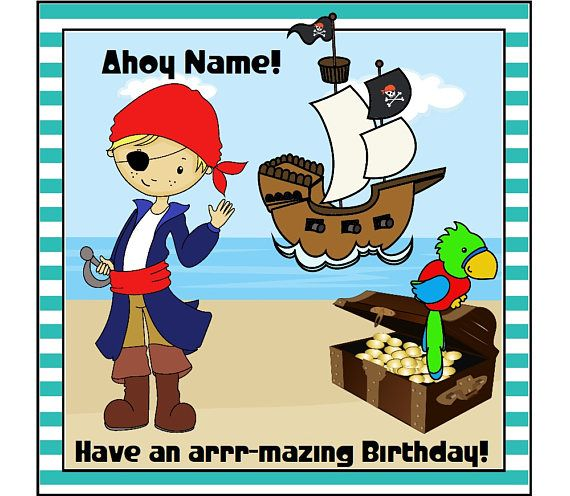 Pirate Boy Birthday Card Personalised Card Pirate Birthday Pirate