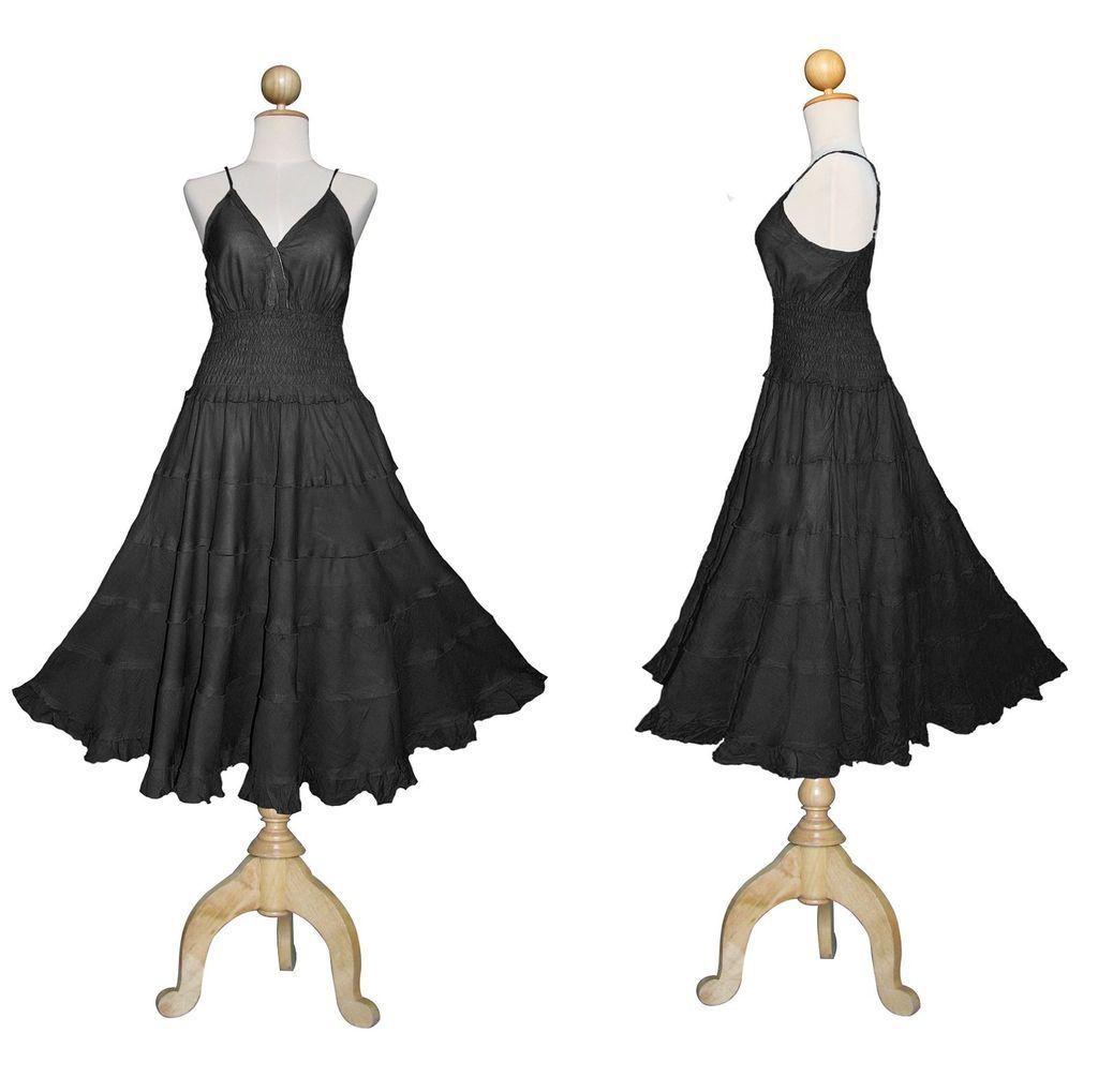 New long black gothic dress plus size maxi medieval peasant