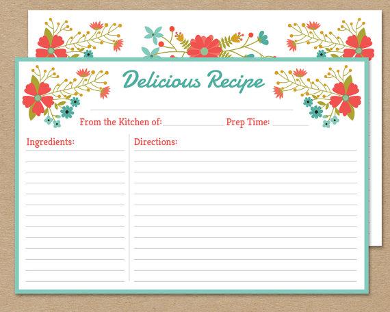 EDITABLE VINTAGE RECIPE card Wildflowers by LittlePaperSparrow - recipe card