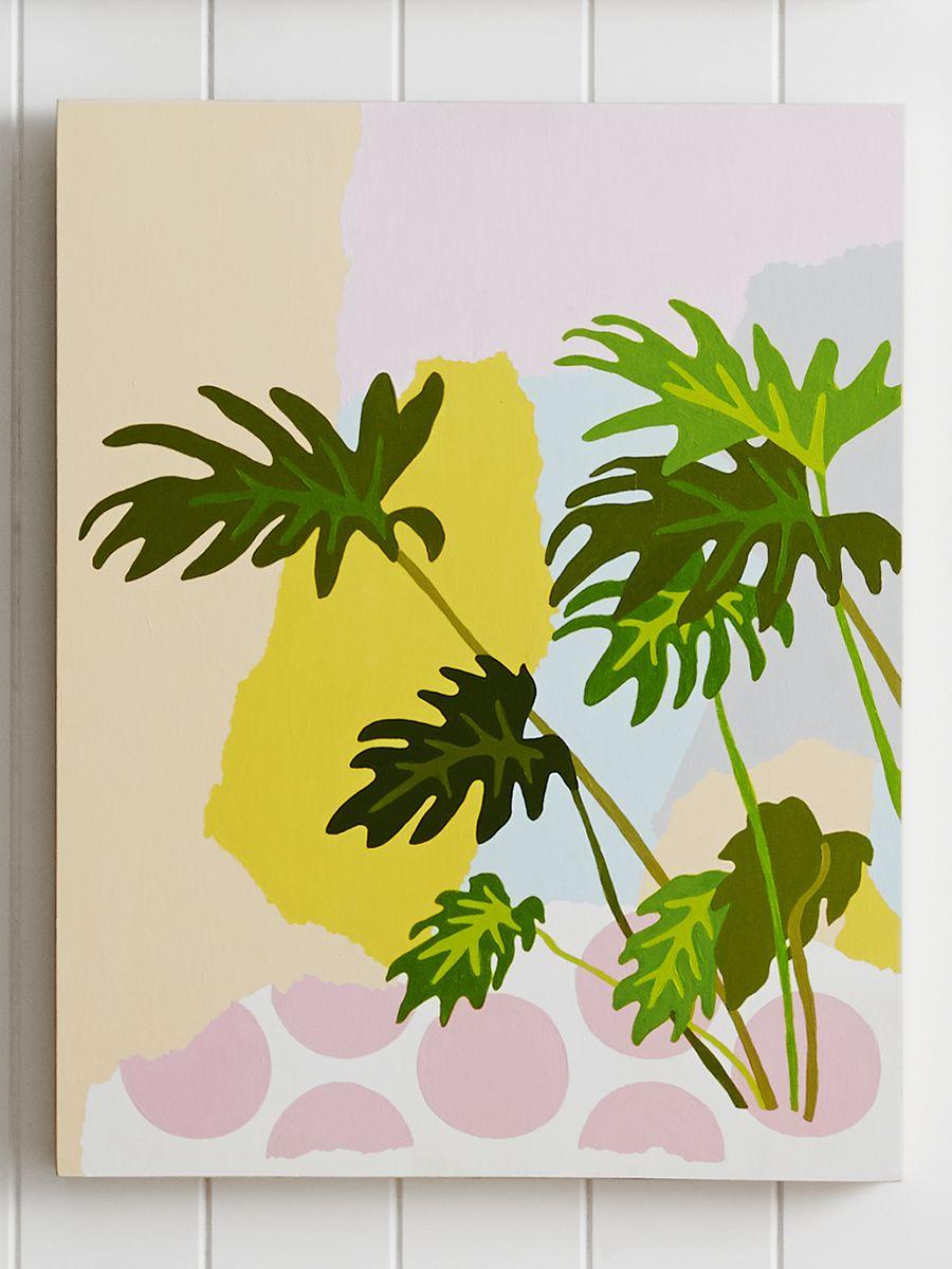 Geometric botanical leaves art tropical summer illustration painting ...