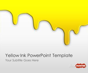 free yellow ink powerpoint template is an original slide design, Powerpoint templates