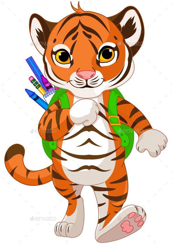 Tiger Goes To School Tiger Illustration Kids Nursery Art School Illustration