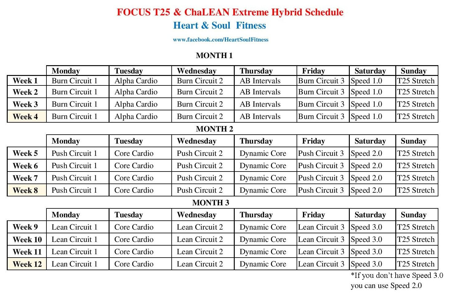 Focus T25 & ChaLEAN Extreme Hybrid Schedule