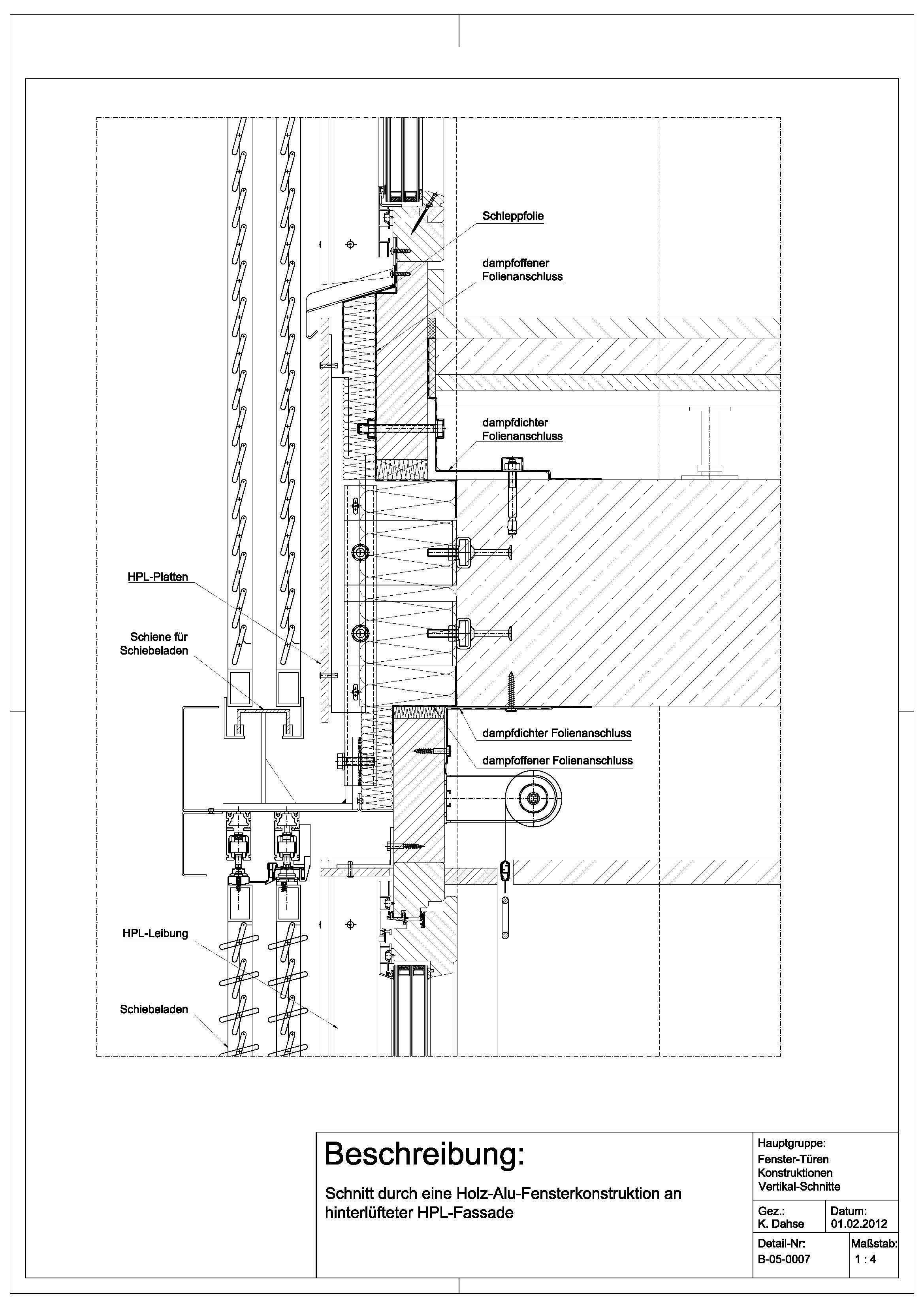 Tür vertikalschnitt  B-05-0007 Schnitt durch eine Holz-Alu-Fensterkonstruktion an ...