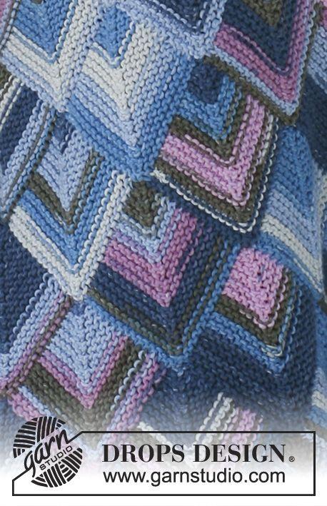 Chaqueta DROPS con cuadrados dominó en punto jersey y Muskat Soft ...