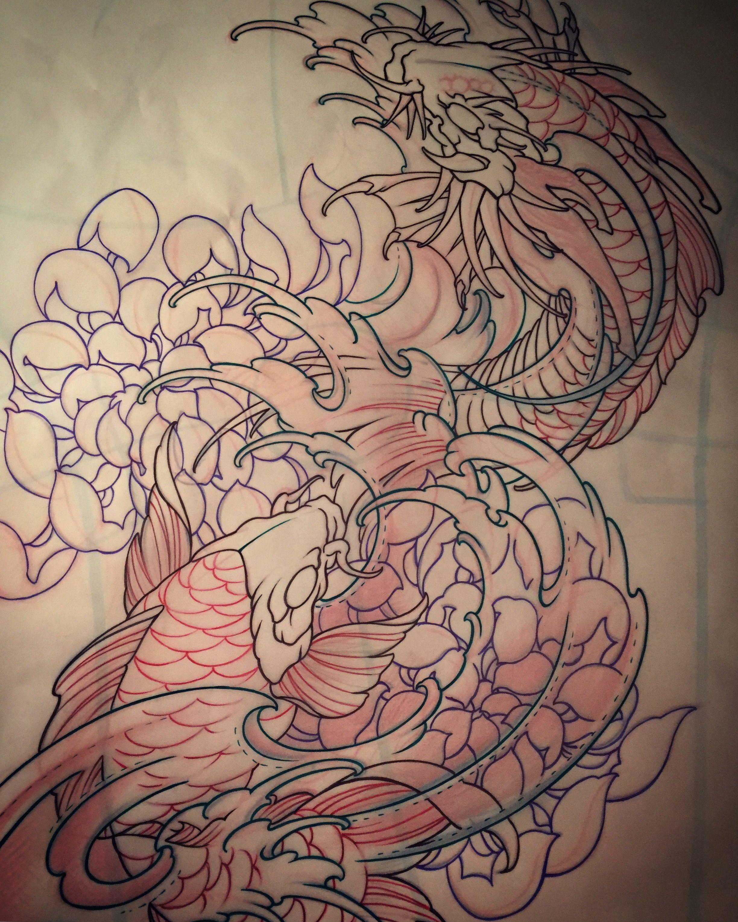Amsterdam tattoo 1825 kimihito koi koi dragon tattoo for Japanese koi dragon