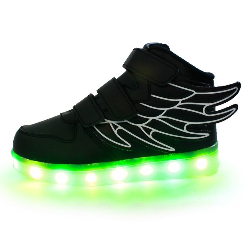 Zapatillas Con Luces LED y Alas Negro Niño