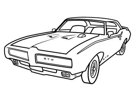 a classic pontiac gto coloring page  lots more free