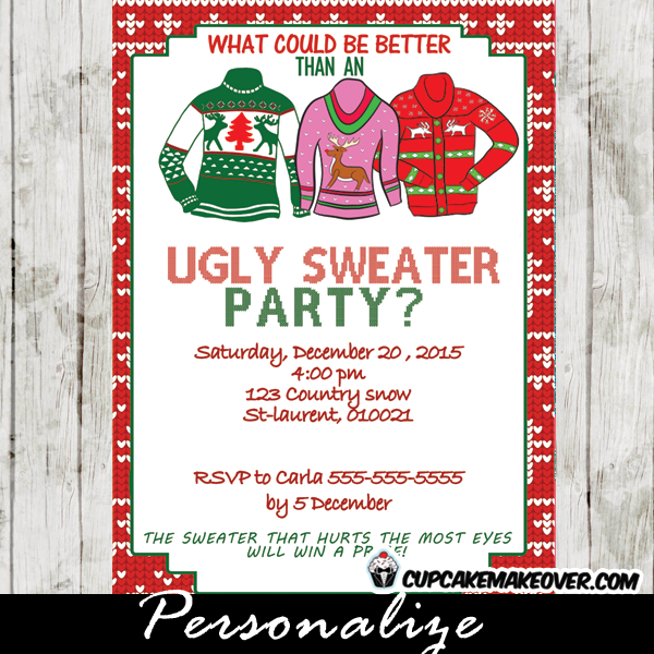 Ugly Sweater Holiday Party Invitation Personalized D6 Christmas