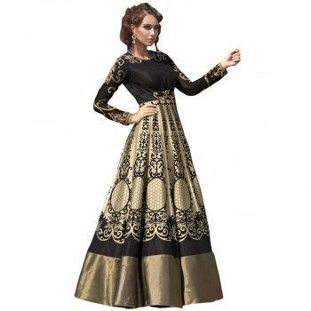 Satin Machine Work Black & Golden Semi Stitched Gown - 1109 ...