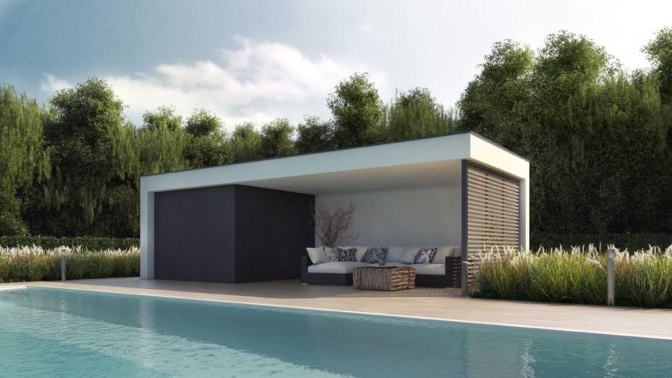 Modern Pool House poolhouse met lounge hoek, outdoor design meubilair, moderne