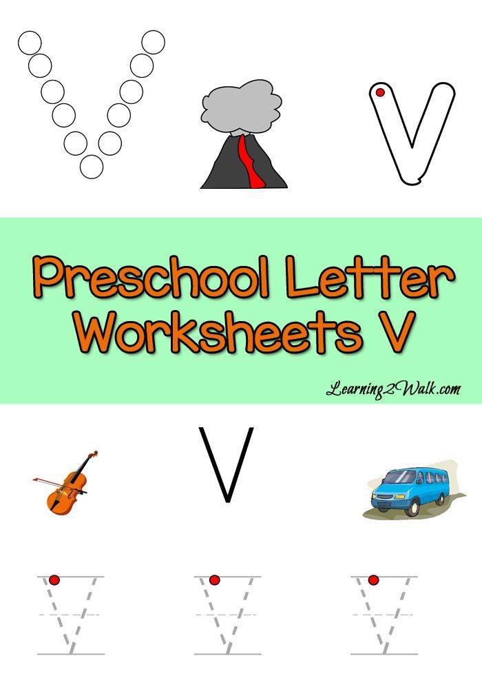 Free Preschool Letter V Worksheets- Learning 2 Walk | Pinterest ...