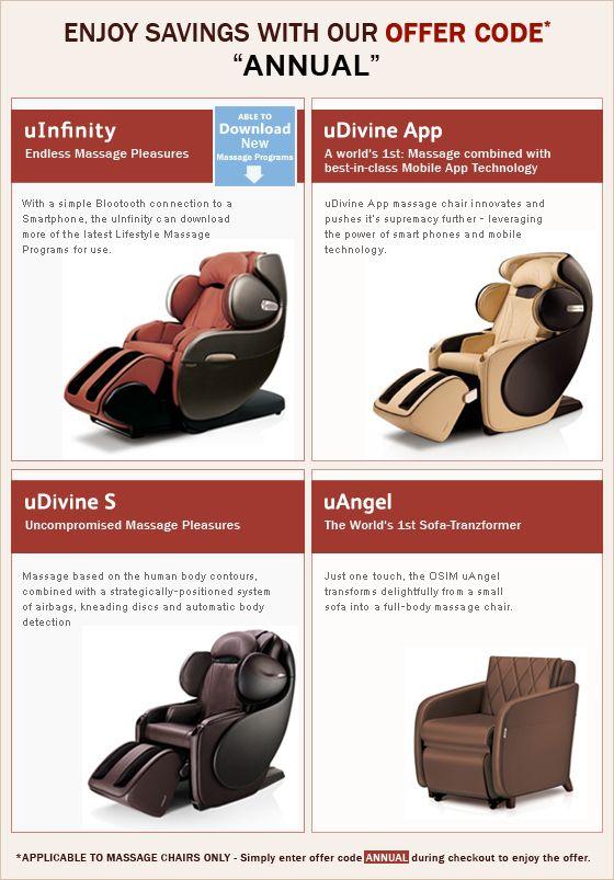 use discount code annual to enjoy discount on osim massage chair    osim com