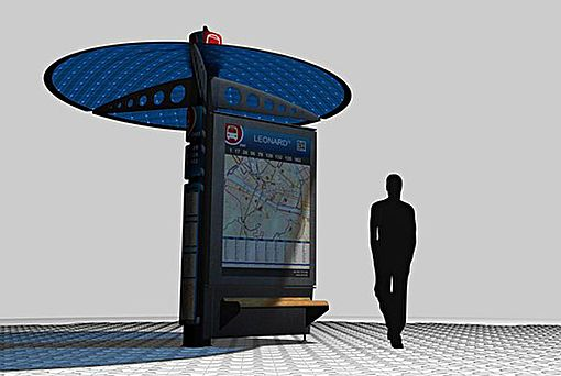 """The YBR Bus Shelter designed by Eliel Cabrera is also an eco-friendly project with a technological twist. The concept is totally adaptable to the needs of the environment and includes the ability to communicate with mobile phones to send out route and schedule information. Solar panels and other """"green"""" materials can be used to construct the stop."""