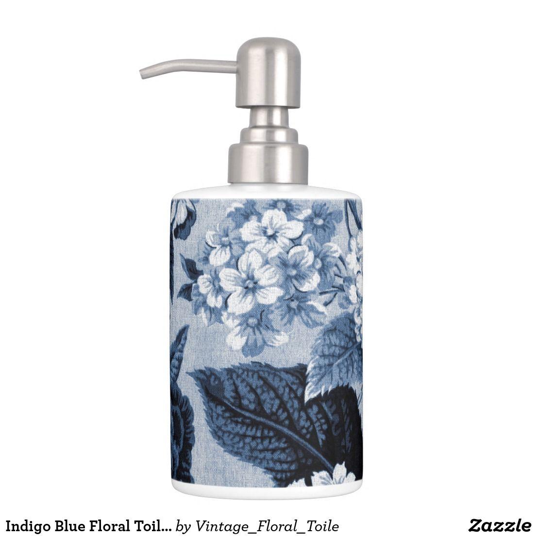 Indigo Blue Floral Toile No.1 Bathroom Set   Bath accessories ...