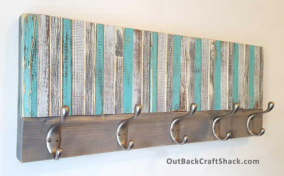 Wall Art Coat Rack Brings A Splash Of Beach Colors To Your Entryway Or Bathroom Gray Teal And White Distressed Wood Teal Decor Rustic Towels Coat Rack Wall