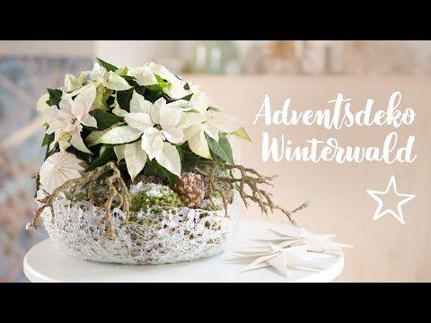 Christmas DIY: Winter woods Advent decoration with poinsettia #rustikaleweihnachtentischdeko